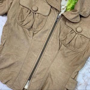 Tracy Reese Jackets & Coats - Tracy Reese Tan Leather Zip Short Sleeve Jacket